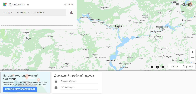 Истории местоположений сервиса Google Maps