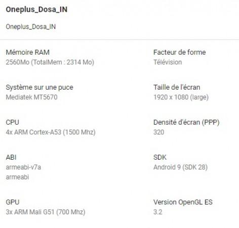Характеристики Oneplus TV