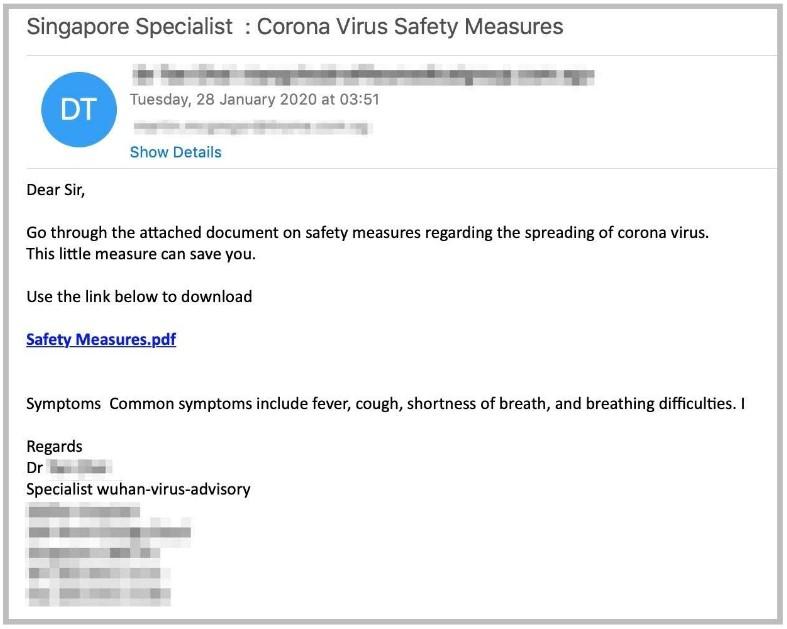 Фишинговые письма с коронавирусом