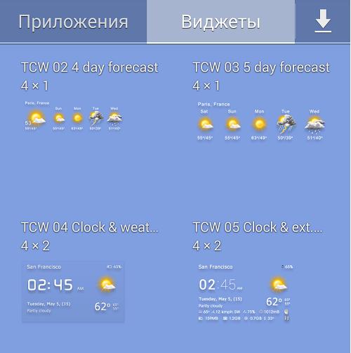 Погодные виджеты для android