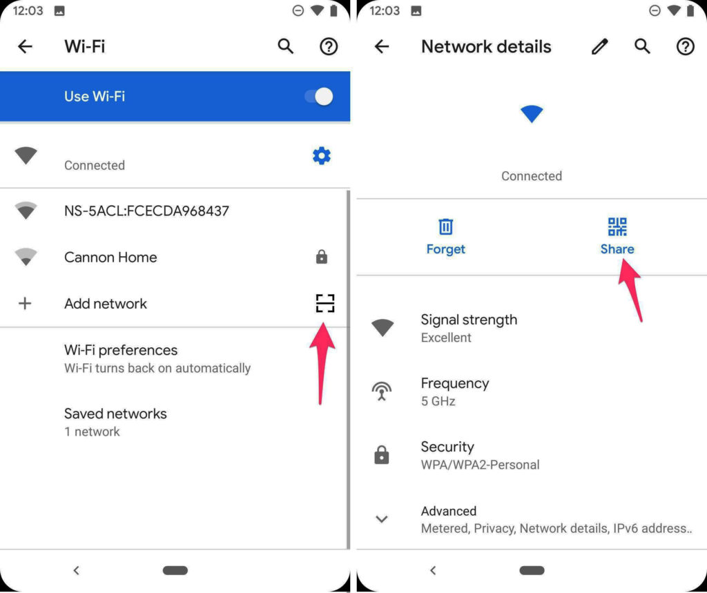 Обмен сетью Wi-Fi в Андроид Кю