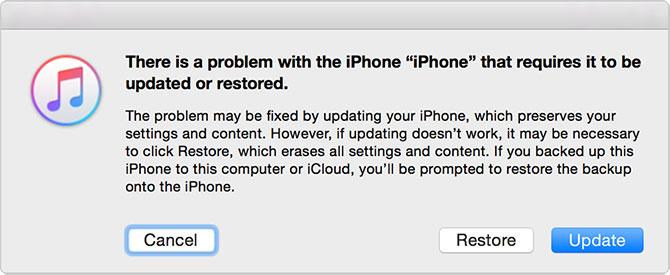 Ошибка при восстановлении iPhone